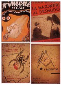 Franco'nun iktidar savaşı döneminde ve sonrasında yayınlanan anti - ma- sonik kitapların kapakları. Masones e Pacifistas'ın yazarı Juan Tusquets rahipti ve ölüme gönderilmek üzere 82.000 Masonün listesini çıkarmıştı.