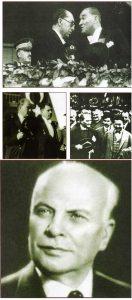 Masonlar Türkiye Cumhuriyeti'nin kuruluşunda önemli bir rol oynadılar. Atatürk, Dışişleri Bakanı Tevfik Rüştü Aras'la (en üstte), Meclis Başkanı Kazım Özalp'la (üstte solda), İçişleri Bakanı Şükrü Kaya ile (üstte sağda). Atatürk'ün doktoru Mim Kemal Öke (altta).