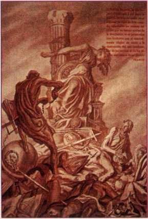 Saez de Tejada'nın resmi. Karan¬lık Mason kişi, Ispanya'yı temsil eden gözleri bağlı kadının boy-nunu arkasındaki direğe sıkarak öldürmeye hazırlanıyor (Garot: boyun sıkılarak idam)